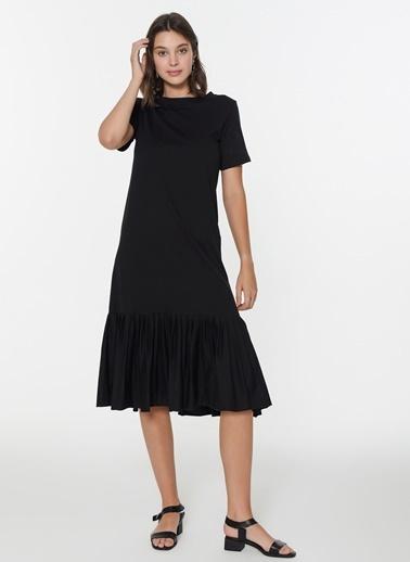 Loves You Eteği Piliseli Sweat Elbise Siyah
